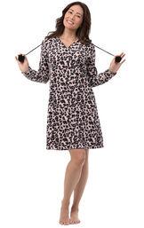 Pink Black Leopard Print Sleepshirt - Hood for Women image number 0