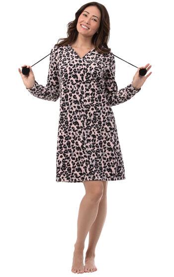 Addison Meadow|PajamaGram Fleece Nighty - Pink Leopard