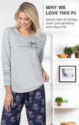 Model wearing Margaritaville Island Time Pajamas - Christmas Palm Tree Print with the following copy: Island vibes and holiday cheer pair perfectly with these PJs image number 3