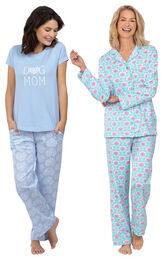 Models wearing Modern Floral Boyfriend Pajamas and Dog Mom Pajamas image number 0