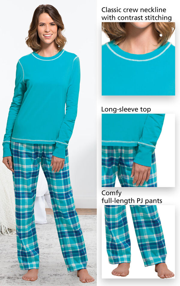 Close-ups of features of Wintergreen Plaid Jersey-Top Flannel Pajamas which include a classic crew neckline with contrast stitching, long-sleeve top and comfy, full-length PJ pants image number 2