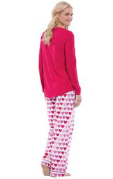 Model wearing Be Mine Heart Print PJ for Women, facing away from the camera image number 1