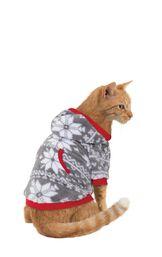Model wearing Hoodie-Footie - Gray Fair Isle Fleece for Cats