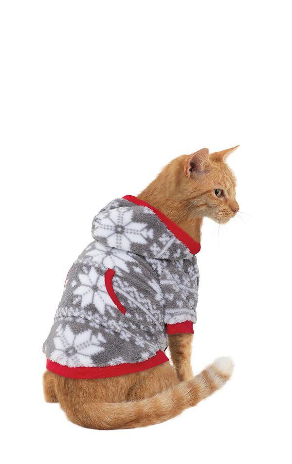 Model wearing Hoodie-Footie - Gray Fair Isle Fleece for Cats image number 0