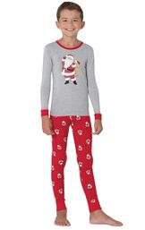 Model wearing Red and Gray Santa Print PJ for Kids