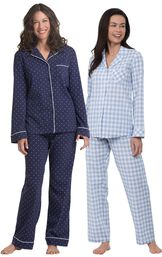 Models wearing Heart2Heart Gingham Boyfriend Pajamas - Periwinkle and Classic Polka-Dot Women's Pajamas - Navy.