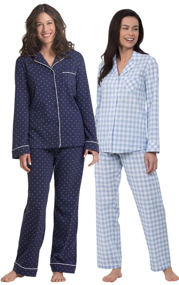 Models wearing Heart2Heart Gingham Boyfriend Pajamas - Periwinkle and Classic Polka-Dot Women's Pajamas - Navy. image number 0