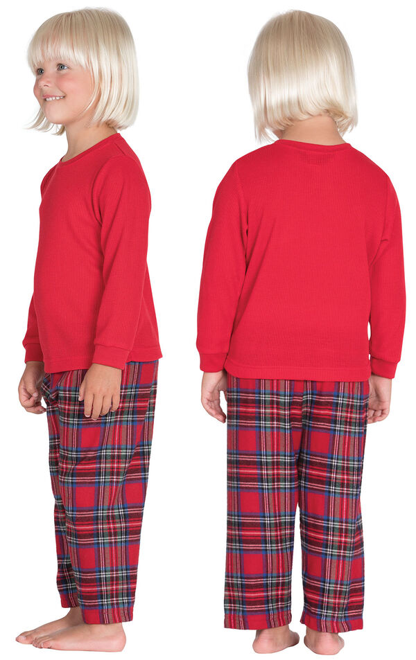 Model wearing Red Classic Plaid Thermal Top PJ for Toddlers, facing away from the camera and then facing to the side image number 1