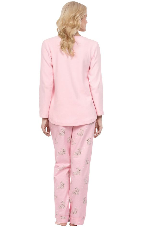 Model wearing Pink Snuggle Bunny Print PJ for Women, facing away from the camera image number 1
