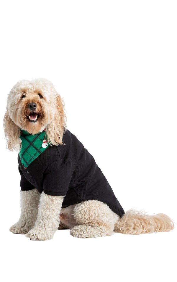 Model wearing Black and Green Snowman Argyle PJ - Pet image number 0