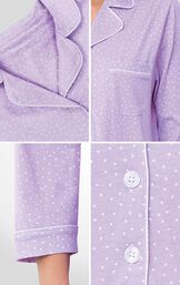Close-ups of Pin Dot Nighty collar, cuffs and button front image number 3