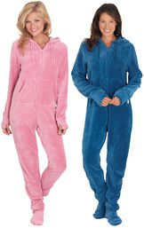 Models wearing Hoodie-Footie - Pink and Hoodie-Footie - Blue. image number 0