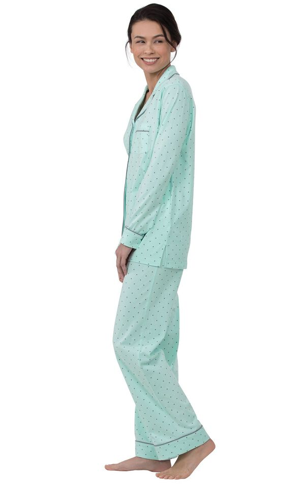 Model wearing Mint and Gray Polka Dot Button-Front PJ for Women, facing to the side image number 2