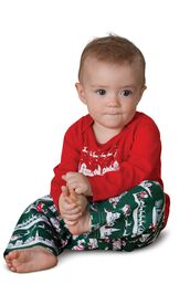 Model wearing Red and Green Night Before Christmas PJ for Infants image number 0