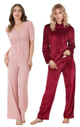 Models wearing Tempting Touch PJs - Garnet and Naturally Nude Pajamas - Pink.