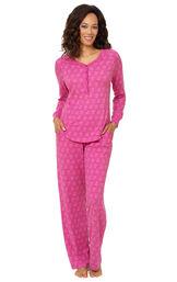 Model wearing Whisper Knit Henley Pajamas - Purple Floral image number 0