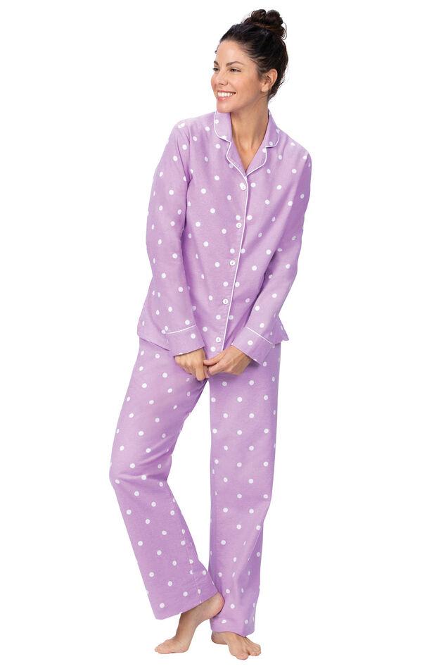 Lavender Dot Flannel Button-Front PJ for Women image number 1