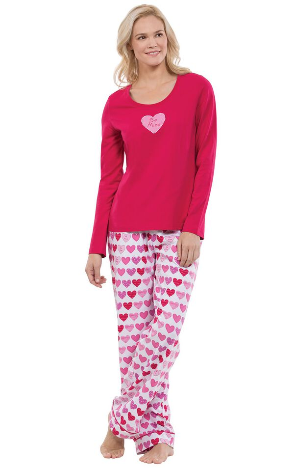 Model wearing Be Mine Heart Print PJ for Women image number 0