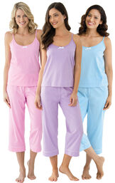 Models wearing Classic Polka-Dot Capri Pajamas - Blue, Classic Polka-Dot Capri Pajamas - Lavender and Classic Polka-Dot Capri Pajamas - Pink. image number 0