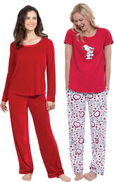 Models wearing Velour Long-Sleeve Pajamas - Ruby and Snoopy's Valentine Pajamas. image number 0