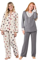 Models wearing Christmas Dogs Flannel Boyfriend Pajamas and World's Softest Pajamas - Charcoal. image number 0