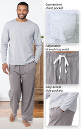 Charcoal Gray and White Stripe PJ for Men feature a convenient chest pocket, adjustable drawstring waist and easy access side pockets image number 4