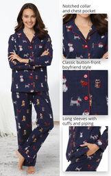 Christmas Dogs Boyfriend Pajamas - Navy image number 3