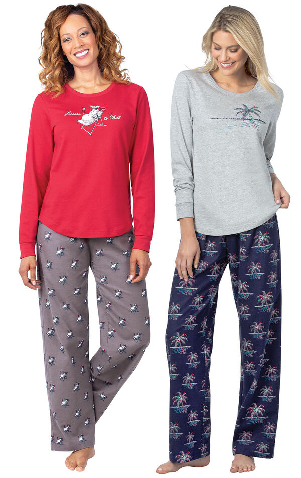 Models wearing Margaritaville Island Time Pajamas - Sunny Snowman and Margaritaville Island Time Pajamas - Christmas Palm Trees. image number 0