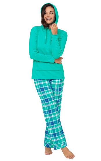 Wintergreen Plaid Hooded Women's Pajamas