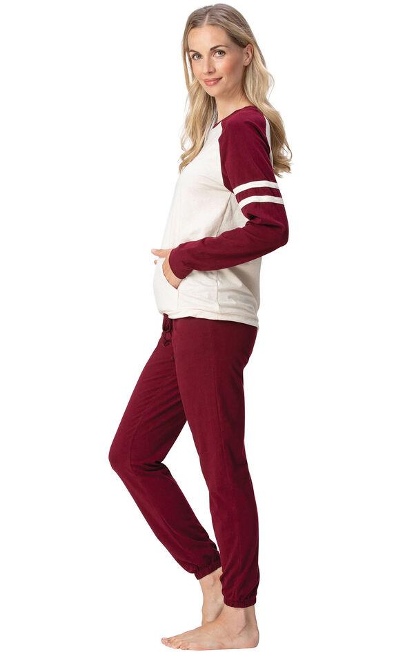 Model wearing Sunday Funday Pajamas - Burgundy, facing to the side image number 2