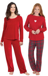 Models wearing Valentine's Day Plaid Pajamas and Velour Long-Sleeve Pajamas - Ruby.