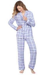 Model wearing Lavender Plaid Button-Front PJ for Women image number 0