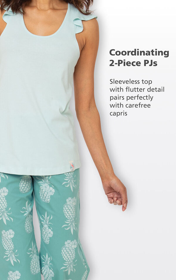 Coordinating 2-Piece PJs - Sleeveless top with flutter detail pairs perfectly with carefree capris image number 3