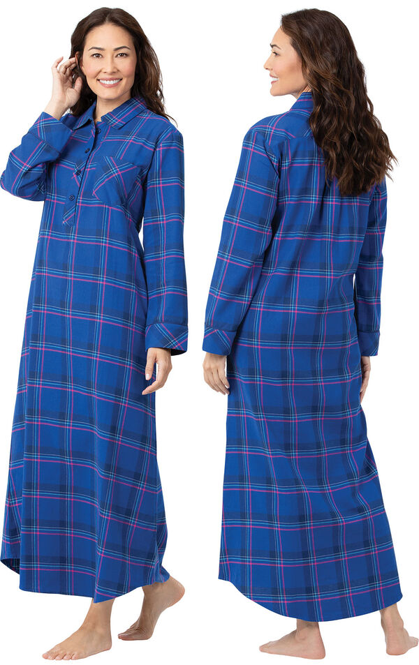 Model wearing Indigo Plaid Flannel Gown for Women, facing away from the camera and then to the side image number 1