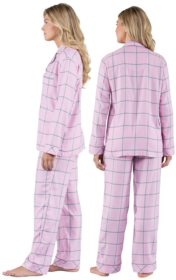 Model wearing Light Pink and Gray Plaid Button-Front PJ - Petite for Women, facing away from the camera and then to the side image number 1