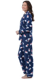 Model wearing Navy Polar Bear Fleece Button-Front PJ for Women, facing to the side image number 2