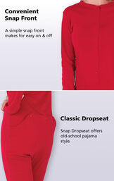 Close up of Red Dropseat Pajama features including a convenient snap front that makes for easy on and off. A classic snap dropseat offers old-school pajama style. image number 2