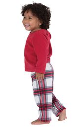 Model wearing Red and White Plaid Fleece PJ for Infants, facing to the side image number 2