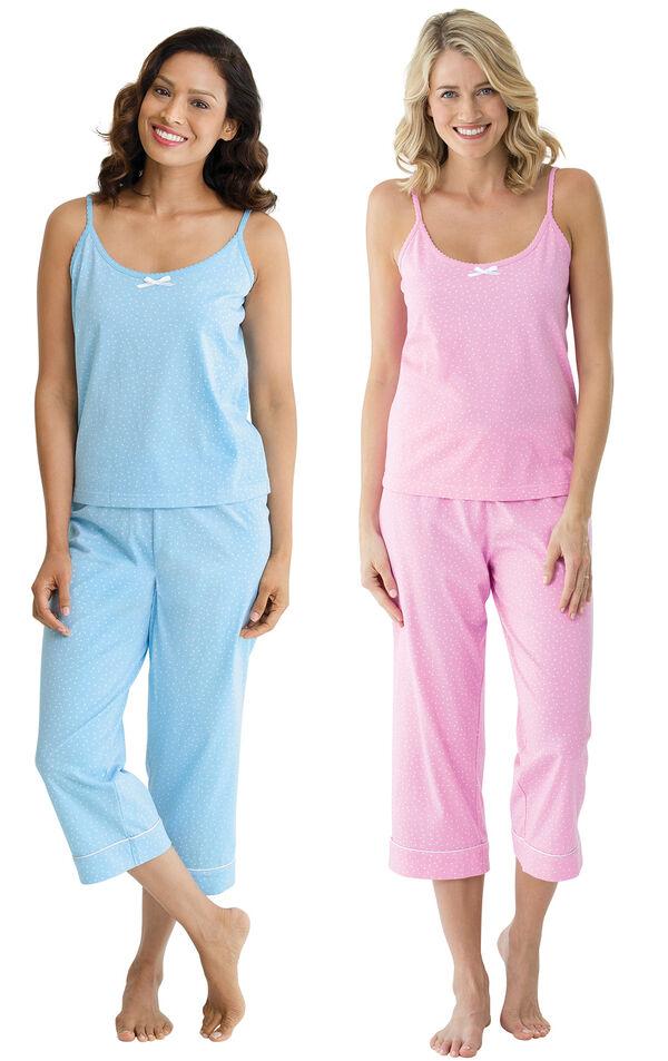 Models wearing Classic Polka-Dot Capri Pajamas - Blue and Classic Polka-Dot Capri Pajamas - Pink. image number 0