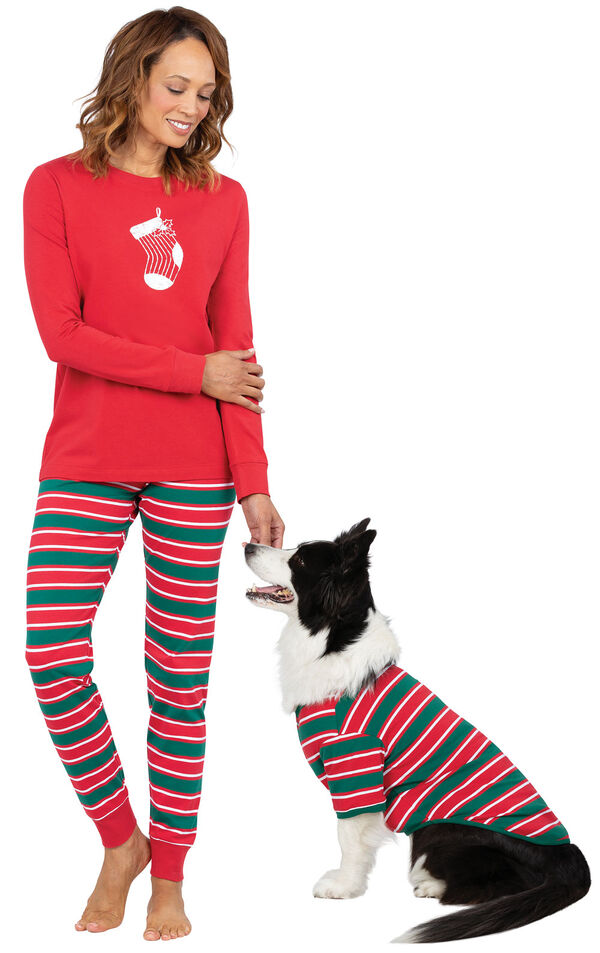 Models wearing Red and Green Christmas Stripe Pajamas for Pet and Owners image number 0