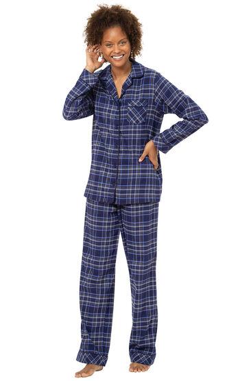 Navy Lurex Plaid Boyfriend Flannel Pajamas