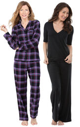Models wearing Blackberry Plaid Boyfriend Flannel Pajamas and Naturally Nude Pajamas - Solid Black.