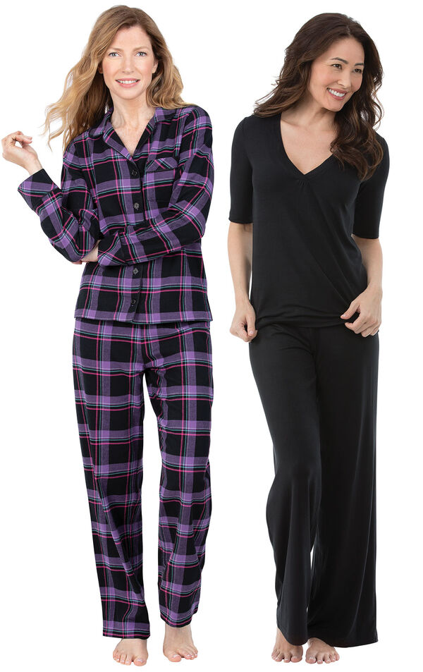 Models wearing Blackberry Plaid Boyfriend Flannel Pajamas and Naturally Nude Pajamas - Solid Black. image number 0