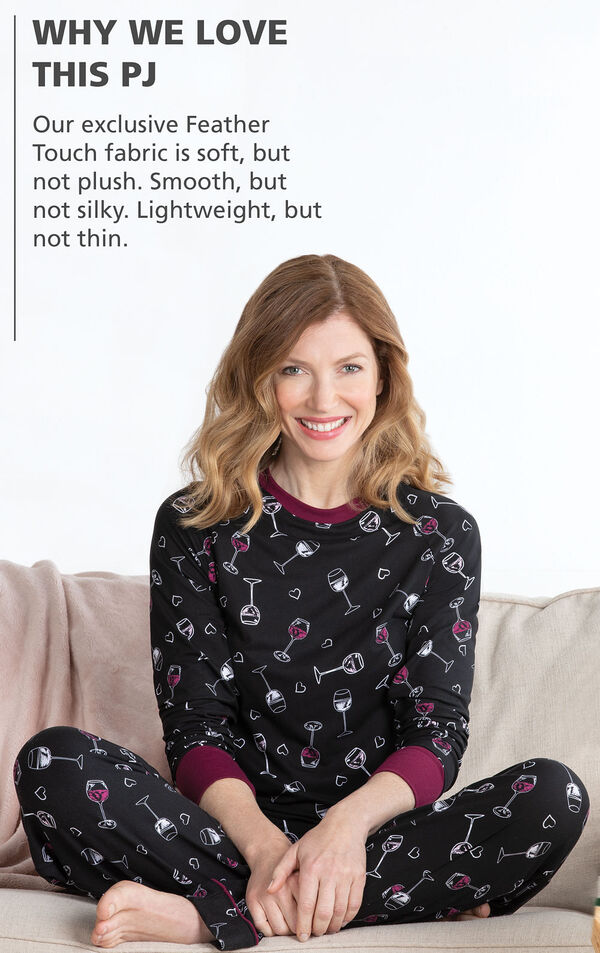 Model wearing Wine Down Pajamas with the following copy: Why We Love This PJ: Our exclusive Feather Touch fabric is soft, but not plush. Smooth, but not silky. Lightweight, but not thin or see-through. Did we mention the four-way stretch and easy care? image number 2