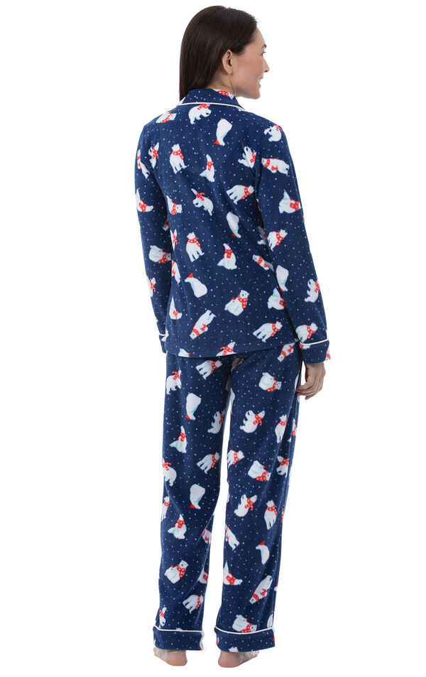 Model wearing Navy Polar Bear Fleece Button-Front PJ for Women, facing away from the camera image number 1