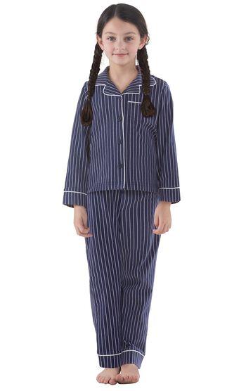 Classic Stripe Girls Pajamas - Navy