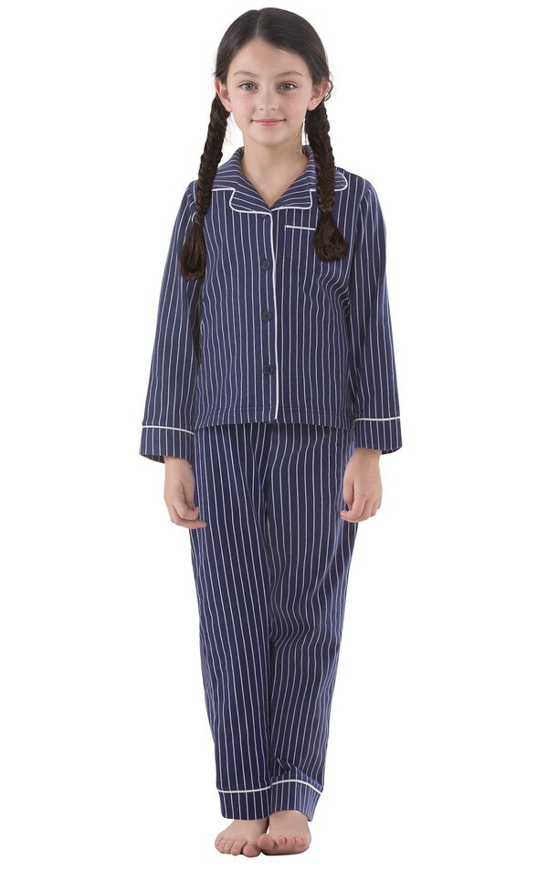 Model wearing Navy Blue and White Stripe Button-Front PJ for Kids image number 0