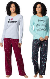 Addison Meadow|PajamaGram Bright Trees and Hearts Flannel PJs