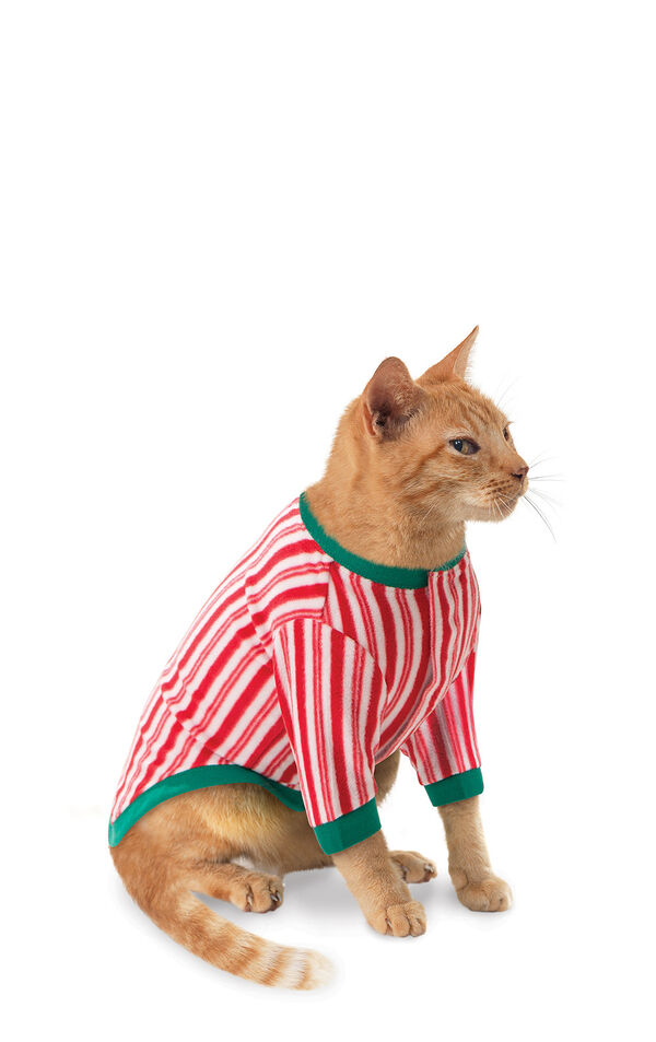 Model wearing Candy Cane Stripe Fleece PJ for Cats image number 0