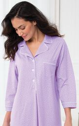 Model wearing Oh-So-Soft Pin Dot Nighty - Lavender image number 2